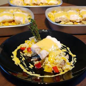 Poisson sauce coco-curry et couscous